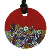 Matte Millefiori Round Necklace - Red