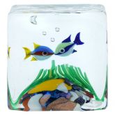 Murano Glass Aquarium Cube With Two Tropical Fish - 1-1/4 inches