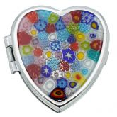 Murano Millefiori Heart Pill Box - Multicolor