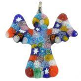 Murano Glass Millefiori Angel Pendant - Multicolor