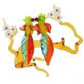 Murano Glass Cockatoo Birds on a Branch