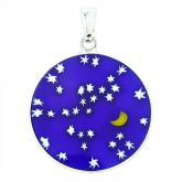 "Medium Millefiori Pendant ""Starry Night"" in Silver Frame 23mm"