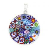 "Medium Millefiori Pendant ""Multicolor"" in Silver Frame 26mm"
