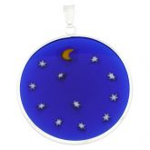"Large Millefiori Pendant ""Starry Night"" in Silver Frame 32mm"