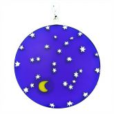 "Large Millefiori Pendant ""Starry Night"" in Silver Frame 36mm"