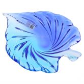 Murano Glass Sommerso Leaf Bowl - Aqua Blue