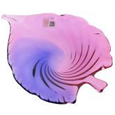 Murano Glass Sommerso Leaf Bowl - Rose and Blue