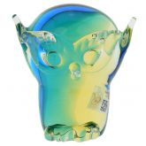 Murano Glass Owl - Amber Aqua