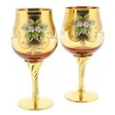 Set Of Two Murano Glass Wine Glasses 24K Gold Leaf - Golden Brown