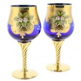 Set of Two Murano Glass Wine Glasses 24K Gold Leaf - Blue