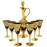 Murano Glass Decanter Set With Six Wine Glasses 24K Gold Leaf - Red