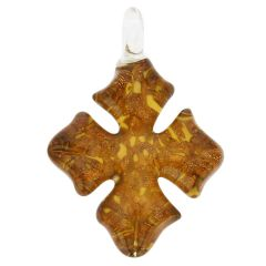 Avventurina Honey Cross-Shaped Pendant