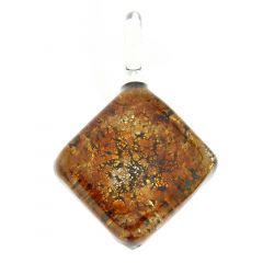 Golden Brown Sparkle Square Pendant
