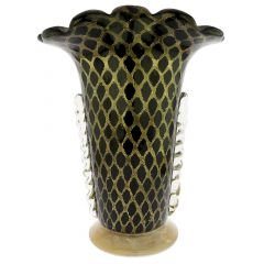 Murano Glass Golden Net Vase - Black