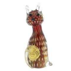 Murano Glass Bullicante Cat - Red
