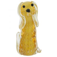 Murano Glass Bullicante Dog - Topaz Gold