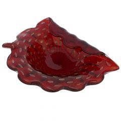 Murano Glass Bullicante Leaf Bowl - Red