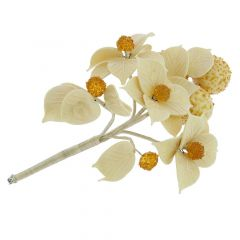 Murano Glass White Flowers on a Branch