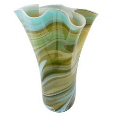 Murano Glass Fazzoletto Vase - Green Brown Blue