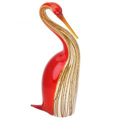 Murano Art Glass Heron Bird - Red