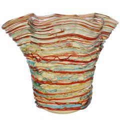 Murano Glass Vesuvio Threaded Wide Wavy Vase