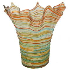 Murano Glass Vesuvio Threaded Fazzoletto Vase