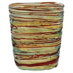 Murano Glass Vesuvio Threaded Oval Vase