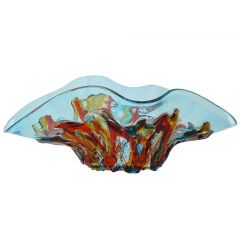 Murano Glass Oceanos Centerpiece Bowl - Aqua Blue