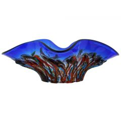 Murano Glass Oceanos Centerpiece Bowl - Blue and Red
