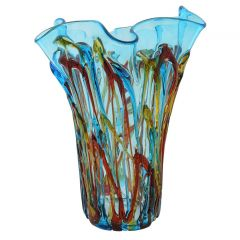 Murano Glass Oceanos Abstract Art Vase - Aqua