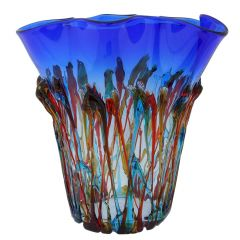 Murano Glass Oceanos Abstract Art Vase - Blue Red