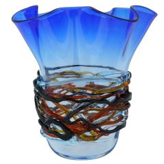 Murano Glass Vesuvio Fazzoletto Vase - Blue