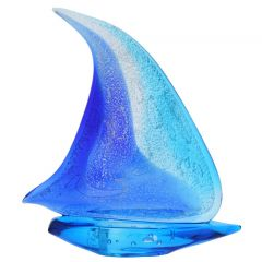 Art Glass Large Sailboat - Silver Blue and Aqua