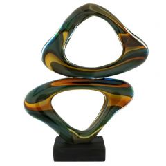 Murano Glass Abstract Sculpture - Blue Green Brown