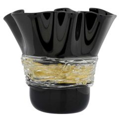 Murano Glass Centerpiece Vase - Black and Gold