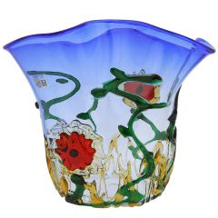 Murano Glass Abstract Flower Vase - Blue