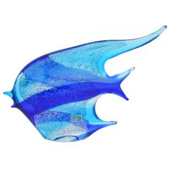 Murano Art Glass Wide Angel Fish - Aqua Blue