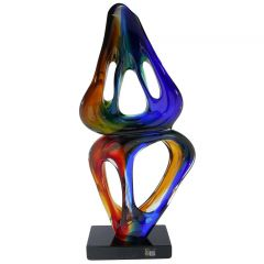 Murano Glass Abstract Sculpture - Blue Red Yellow