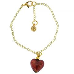 Murano Glass Heart Charm Bracelet - Red