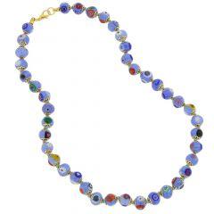 Murano Mosaic Necklace - Sky Blue