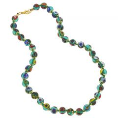 Murano Mosaic Necklace - Transparent Green