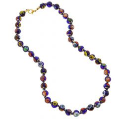 Murano Mosaic Necklace - Navy Blue