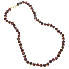 Murano Mosaic Long Necklace - Burgundy