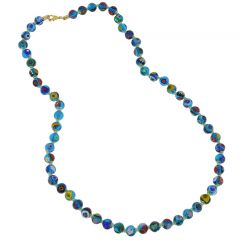 Murano Mosaic Long Necklace - Transparent Blue
