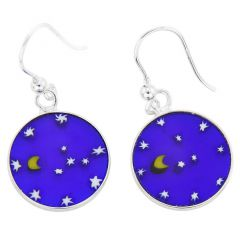 "Millefiori Round Dangle Earrings ""Moon and Stars""- Silver"