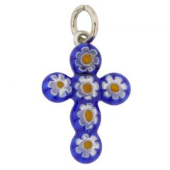 Millefiori Glass Cross Pendant