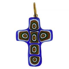 Millefiori Glass Cross Pendant #3