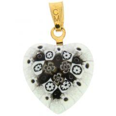 Millefiori Heart Pendant - Gold #2