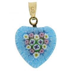 Millefiori Heart Pendant - Gold #5
