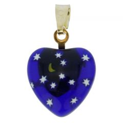 Millefiori Heart Pendant - Gold Starry Night